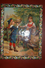 Chromo, deux enfants et un chien chromo vernie, ( circa 1900)