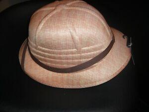 Adult Safari Costume Hat - Jungle Explorer Helmet Tan Hat New w/ Tags - One Size