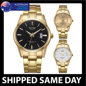 SWIDU CLASSIC MENS GOLD FASHION DRESS WATCH Army Military Water Resistant 115