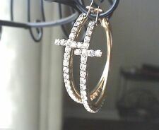 New Cross Crystal Hoop Earrings Gold Plated Crystal Women Pierced 2.5""