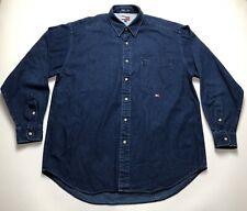 Mens Tommy Hilfiger Navy Denim Long Sleeve Shirt - Size Medium