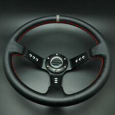 ASG 350mm Deep Dished Racing Sport Steering Wheel Leather w/ Horn Button Black