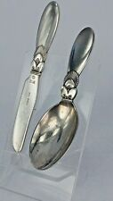 Georg Jensen solid silver knife and spoon set Denmark 1963& 1965
