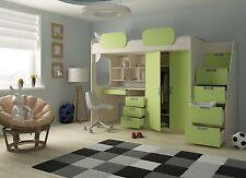 Hochbett Geko grün mit Schreibtisch Kinderbett Etagenbett Kinderzimmer 90x200