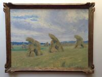 Antique Oil French Impressionist painting Haystack Landscape early 20th Century
