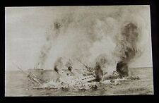 Glass Magic Lantern Slide STEAM SHIP ON FIRE SINKING C1910 DRAWING STEAMER