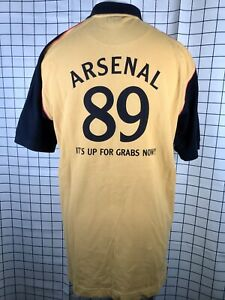 Official Arsenal AFC 89 Its Up For Grabs Now 1989 Gold & Navy Polo Shirt Size M