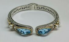 "7"" KONSTANTINO Sterling Silver 18k Gold Blue Topaz White Pearl Cuff Bracelet"