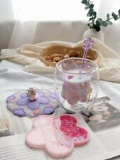 Purple Sakura Cup Starbucks Coffee Glass Mug Stir Rod Stick W/Pink Coaster+Lid
