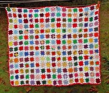 BEAUTIFUL VTG HAND MADE CROCHETED COLORFUL GRANNY SQUARE AFGHAN THROW  52 x 62