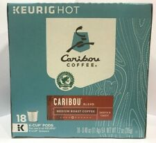 KeurigHot Caribou Coffee Blend Medium Roast K-Cup 18 Pods Office Home Travel