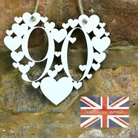 90th Birthday Gift White Love wall hanging heart decoration 90 ninety today sign