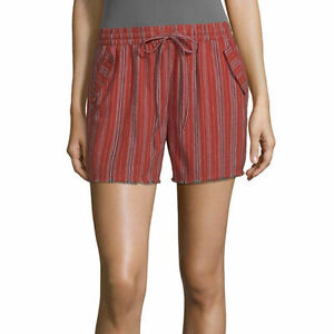 a.n.a. Women's Mid Rise Pull On Short Size X-LARGE Red Stripe Stretch Waistband