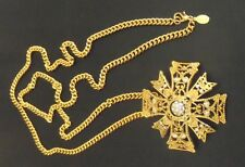 KENNETH JAY LANE KJL GOLD AND CRYSTAL MALTESE CROSS PIN BROOCH WITH CHAIN