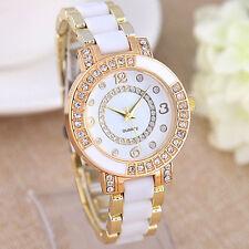 Weiß Uhr Armbanduhr Analog Watch Strass Keramikband Damenuhr Quarz Uhr Damen FL