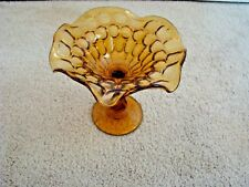 "Vintage Fenton Thumbprint Amber Candy Dish Footed Scalloped 5"" Near Mint"