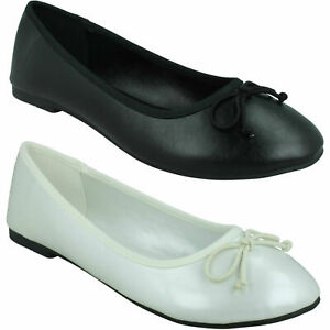 F8R0397 LADIES SPOT ON FLAT SLIP ON CASUAL BOW TRIM PUMPS SUMMER BALLET SHOES