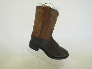 Old West Brown Leather Stockman Cowboy Western Boots Toddler Size 8 D