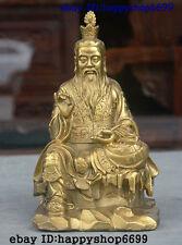 """8"""" China Taoism Brass Taoist priest God Tai ji Tai shang lao jun Lao tzu Statue"""