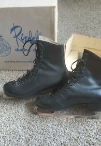 Vintage RIEDELL Red Wing MN Black Ice Skates Men's Size 9