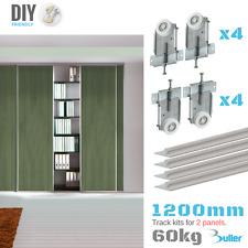 Fastor Sliding Wardrobe Door 1200mm Track Kit For DIY With Spring Loaded Wheels