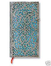 Paperblanks Writing Blank Lined Slim Size Journal Silver Filigree Blue 3 x7 New