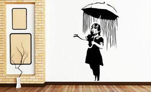 Banksy Nola Umbrella Girl Wall Sticker Decal Removable Wall Art Decoration UK