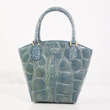 GENUINE TOD'S BLUE ALLIGATOR MINI TOTE TOP HANDLE HANDBAG BAG EXCELLENT!