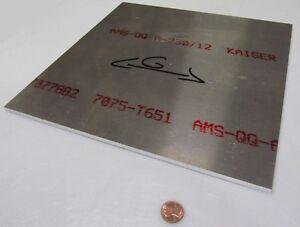 """7075 Aluminum Sheet, T651, .250"""" (1/4"""") Thick x 12"""" Width x 12"""" Length"""