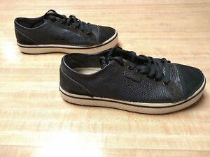 Crocs Mens Black Leather Lace-Up Sneakers Suede Cap Toe Low Top Men's Size 11