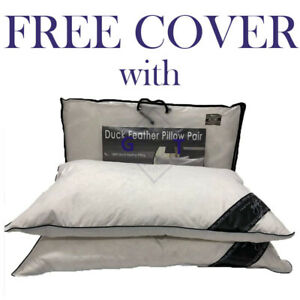 85% Duck & 15% Down Feather Pillows Hotel Quality Extra Filling Firm Support New