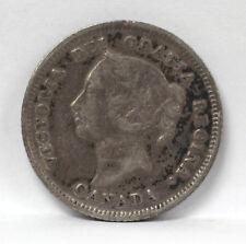 1880 H Canada 5 Cents Silver Km2 Victoria - F #01264125g