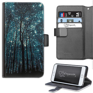 Trees And Starry Galaxy Night Sky PU Leather Wallet Phone Case, Flip Case