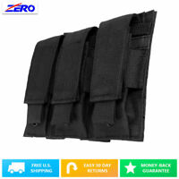 Black Triple Double Stack Pistol Magazines Pouch MOLLE PALS Adjustable Flaps