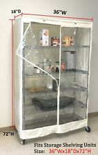 """Storage Shelving unit cover, racks 36""""Wx18""""Dx72""""H - Off White/Clear (Cover only)"""