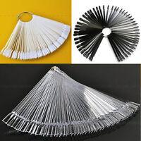 50X False Nude/Clear Nail Art Practice Tips Board Stick Polish Display Fan Wheel