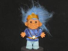 """LQQK 4"""" RUSS BLUE HAIRED PRINCE TROLL W/BLUE SHIRT,LT BLUE TIGHTS & CROWN W183"""
