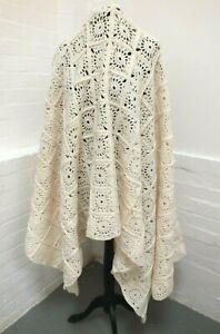 "Large Handmade Crochet Square Granny Throw Cream Blanket 66"" x 46"" (Haw)"