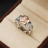 Exquisite 925 Silver Floral Ring 14k Rose Gold Two Tone Flower Wedding Jewelry