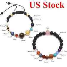 2pcs Universe Nine Planet Solar System Galaxy Stones Beads Braided Bracelet Gift