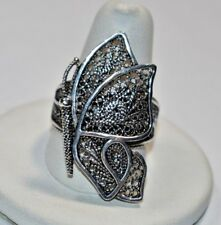 Lovely Vintage Turkey Sterling Silver 925 FILIGREE BUTTERFLY Solid Ring Sz- 9.5