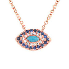 14k Rose Gold Diamond & Blue Sapphire Eye Pendant