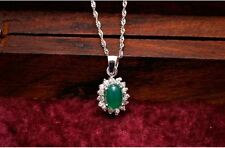 """1CT Chrysoprase pendant sterling silver S925 18"""" chain necklace MOM her gift"""