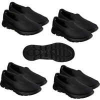 Skechers Womens Go Walk 5 Trainers Leather Walking Casual Shoes Slip On Black
