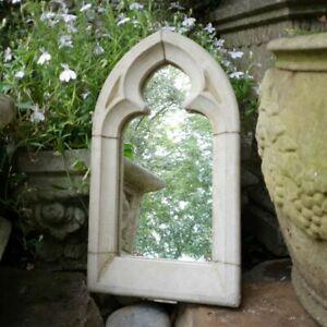 Garden Mirror Outdoor Arched Grey Gothic design Stone Decorative Ornament