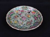 Antique 1800's Porcelain Charger Famille Verte China Export Butterflies Birds