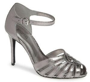 Michael Kors Peep Toe Classic Silver Metallic Leather Pump Shoe Heels Size 9 MK