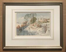 Original Art Watercolour Etching Landscape Of Avonwick, Devon By Donald Greig