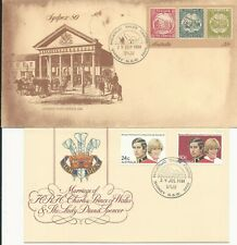 Australia 1980 - 81 two first day covers 22c Ps envelope & Charles & Diana marra