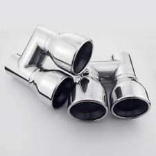 """2.25"""" Inlet Resonated Staggered Exhaust Tips Slant Cut Rolled Round 3.5"""" Outlet"""